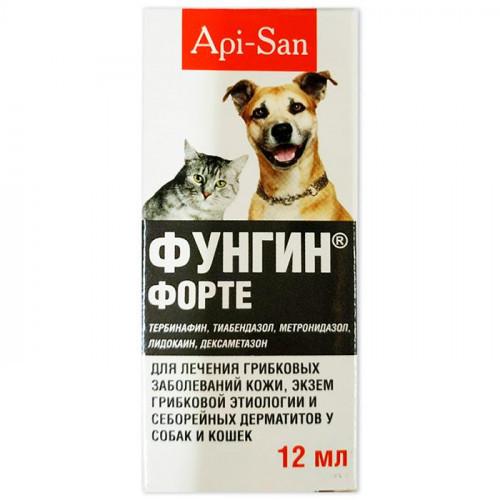 Розчин Api-San Фунгин форте для лікування грибкових захворювань шкіри, екзем грибкової етіології для собак і кішок, 12 мл