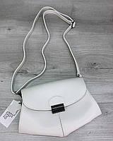 Белая женская сумка бананка на пояс через плечо маленькая наплечная кросс-боди, фото 1