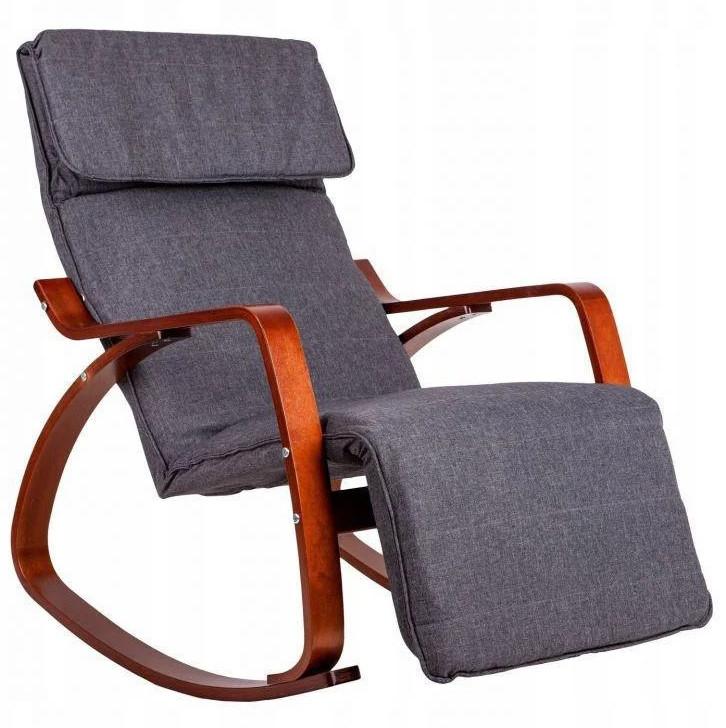 Крісло качалка з підставкою для ніг Goodhome TXRC02 Walnut