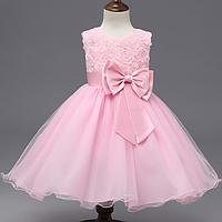 Платье нежно розовое нарядное бальное выпускное нарядное для девочки за колено., фото 1