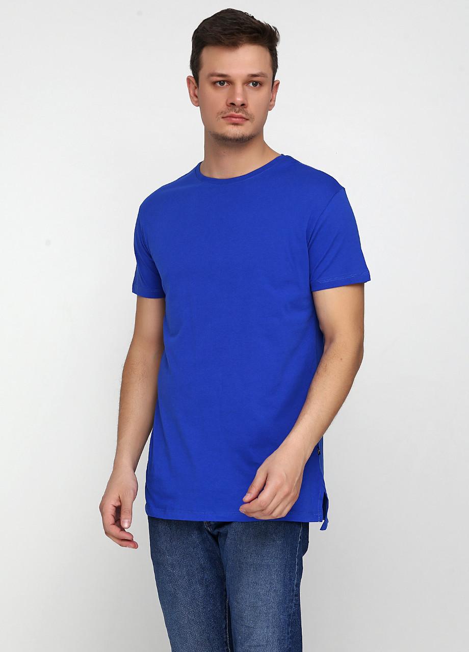 Футболка мужская синяя однотонная MSY