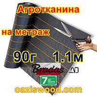 Агротканина 1.1м * довжина на метраж 90г/м² BRADAS плетена, чорна, щільна. Мульчування грунту на 7-10 років, фото 1