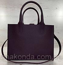 78-1 Натуральная кожа Сумка женская баклажановая (фиолетовая, лиловая) ультраматовая тиснение А4 сумка кожаная, фото 2