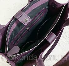 78-1 Натуральная кожа Сумка женская баклажановая (фиолетовая, лиловая) ультраматовая тиснение А4 сумка кожаная, фото 3