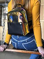 Перламутровый блестящий рюкзак женский маленький полупрозрачный модный из силикона