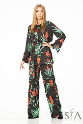 Жіноча весняна шовкова блуза , чорна , в рослинний принт Lesya ЛАНА