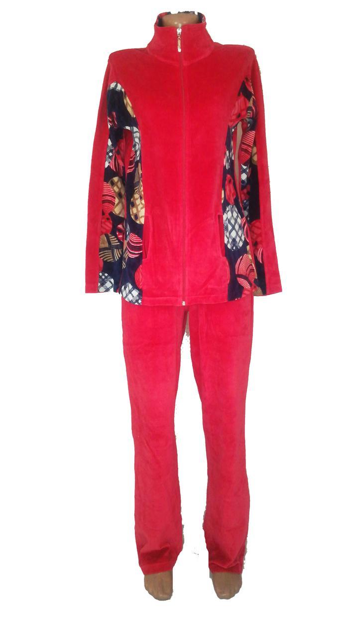 Женский велюровый костюм р. 48-50, красный Турция