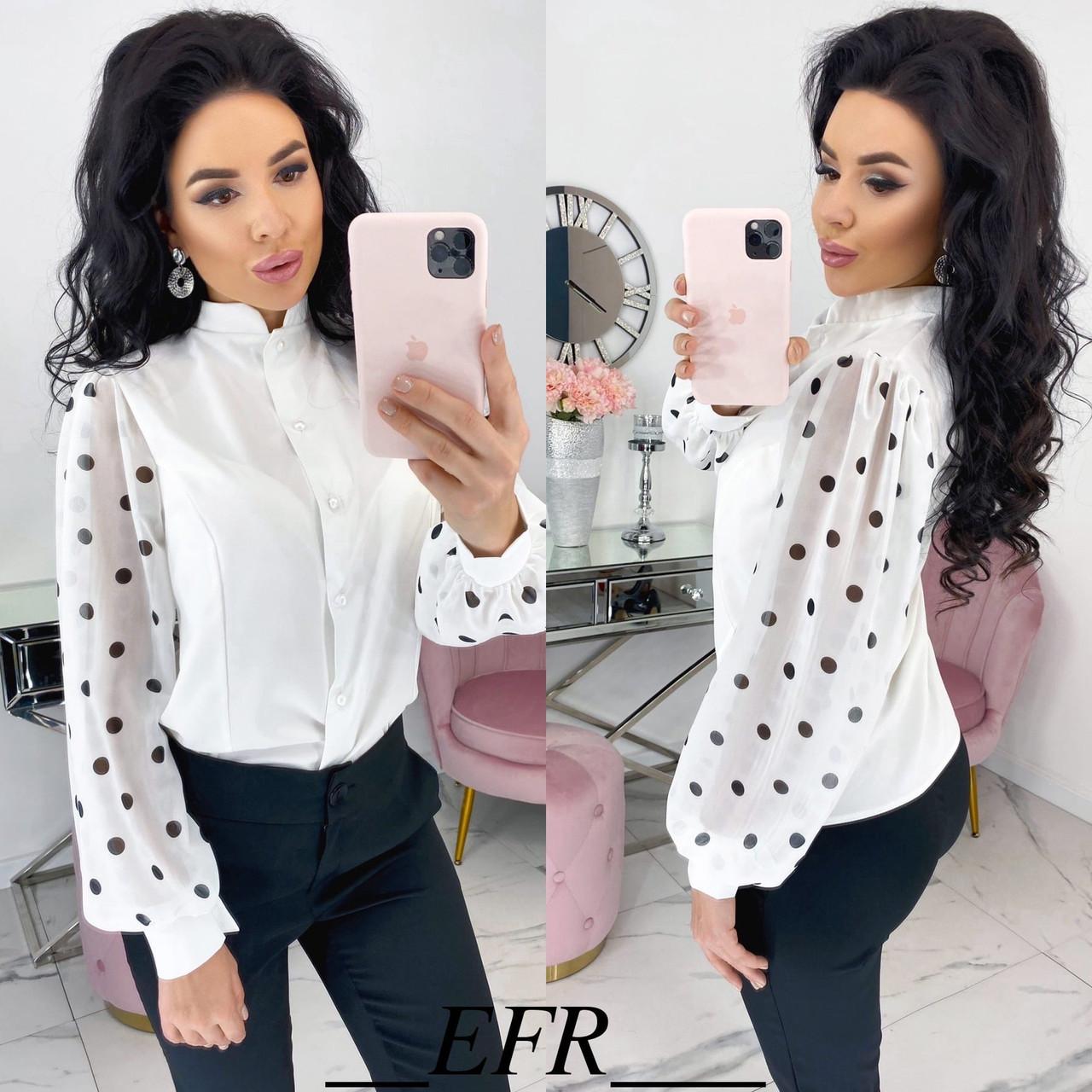 Блузка с пышными рукавами в горошек