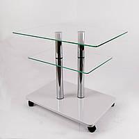 Стол журнальный стекло прямоугольный Commus Bravo Light P6 clear-white-2chr50, фото 1