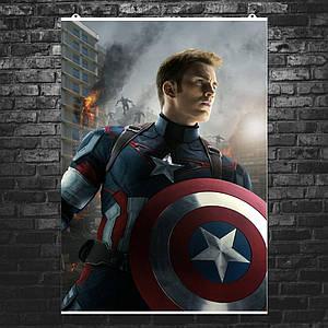 """Постер """"Капитан Америка со щитом"""". Captain America, Эра Альтрона, Мстители, Marvel. Размер 60x42см (A2). Глянцевая бумага"""