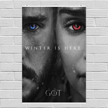 "Постер ""Игра Престолов. Дайнерис Таргариен и Джон Сноу"". Game of Thrones, GOT, сериал. Размер 60x40см (A2). Глянцевая бумага, фото 2"