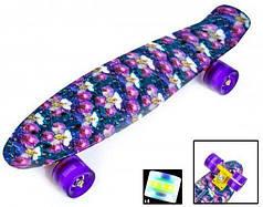 Скейт Пенни борд Penny Board Принт 22 LED колеса - Пенні борд Орхидея 54 см