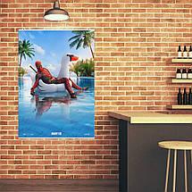 "Постер ""Deadpool. Дэдпул на уточке в бассейне"". Marvel. Размер 60x42см (A2). Глянцевая бумага, фото 2"