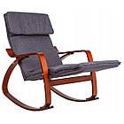 Крісло качалка з підставкою для ніг Goodhome TXRC02 Walnut, фото 2