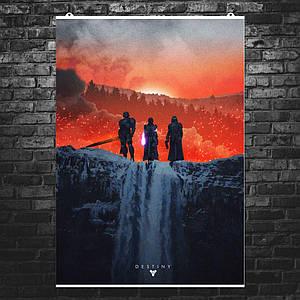 """Постер """"Destiny 2, водопад и закат"""". Судьба 2. Размер 60x43см (A2). Глянцевая бумага"""