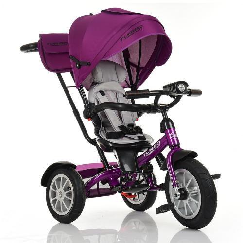 Велосипед M 4057-8 три кол.резина (12/10),колясочн,поворот,регул.руля,свет,фуксия