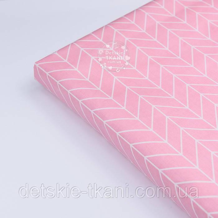 """Лоскут сатина """"Большая косичка"""" на розовом фоне № 2631с, размер 43*80см"""