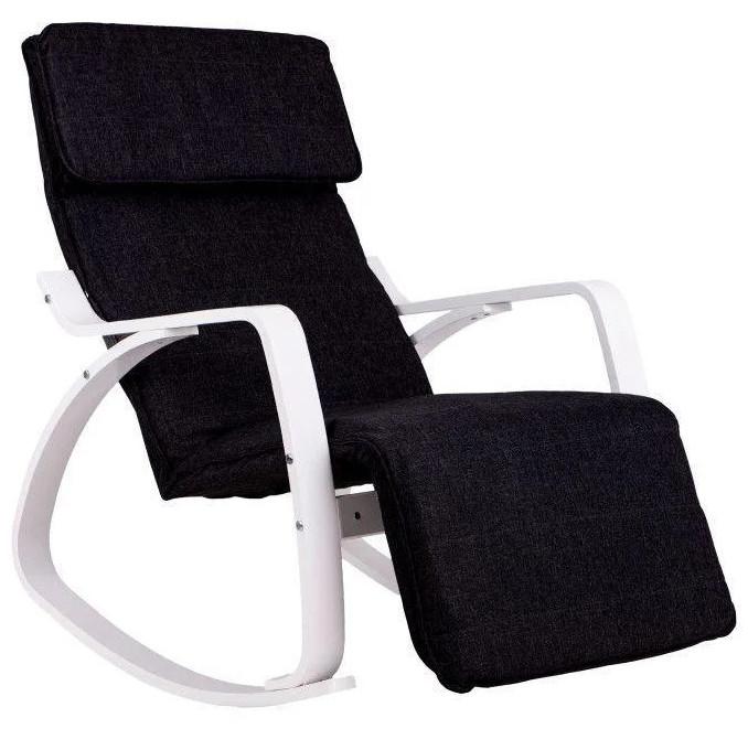 Кресло качалка с подставкой для ног Goodhome TXRC03 White (крісло гойдалка з підставкою для ніг)