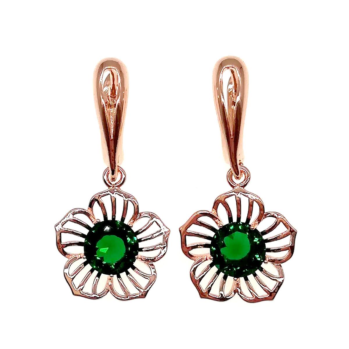 Сережки SONATA з медичного золота, зелені фіаніти, позолота PO, 22870