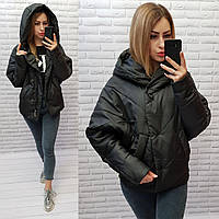 Куртка женская оверсайз, арт.186 + батал, цвет - черный