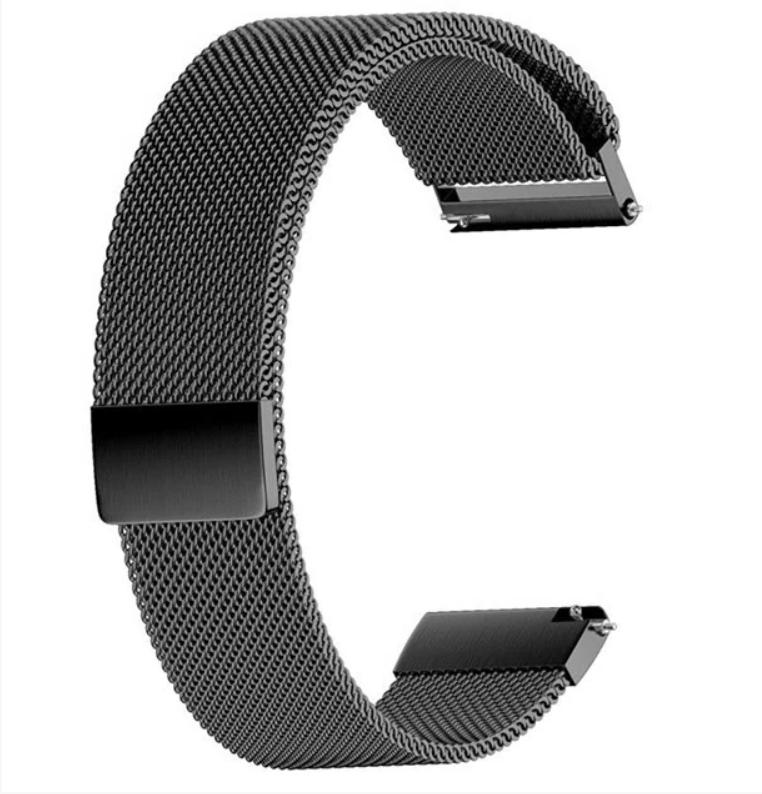 Браслет для часов из нержавеющей стали черный, миланский стиль. 22-й размер