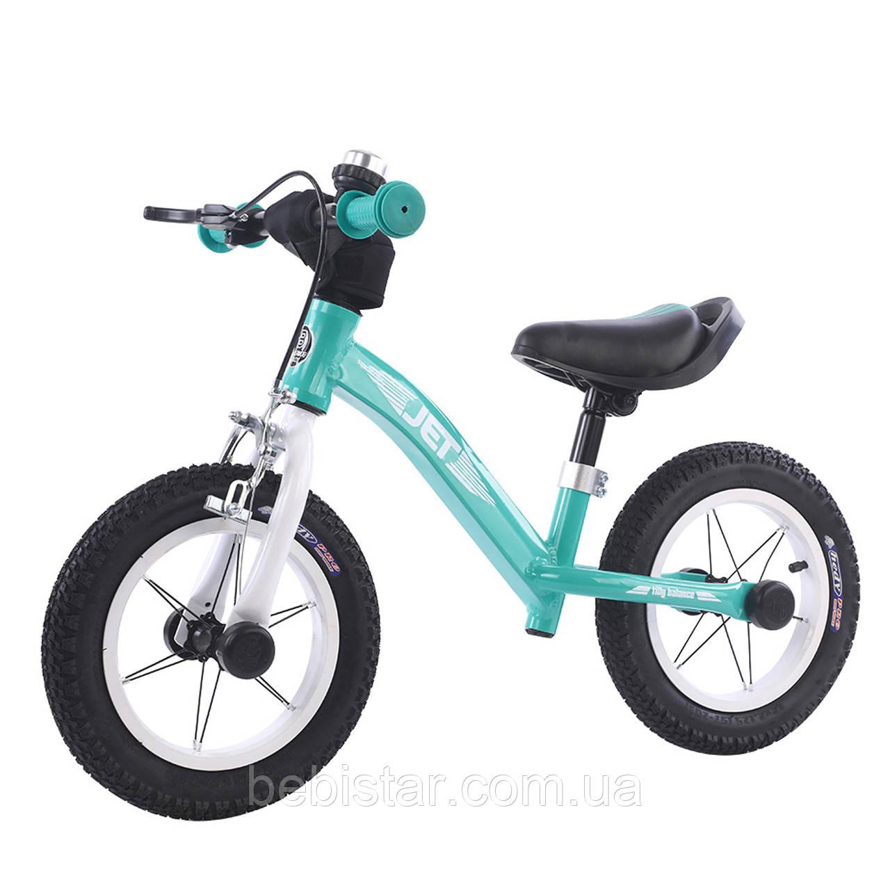 Беговел велобег алюминиевый бирюзовый Tilli Jet надувные колеса ручной тормоз звонок для детей от 2-х до 5 лет