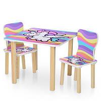 Детский столик деревянный с двумя стульчиками 506-66 Пони