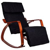 Крісло качалка гойдалка з підставкою для ніг Goodhome TXRC03 Walnut, фото 1