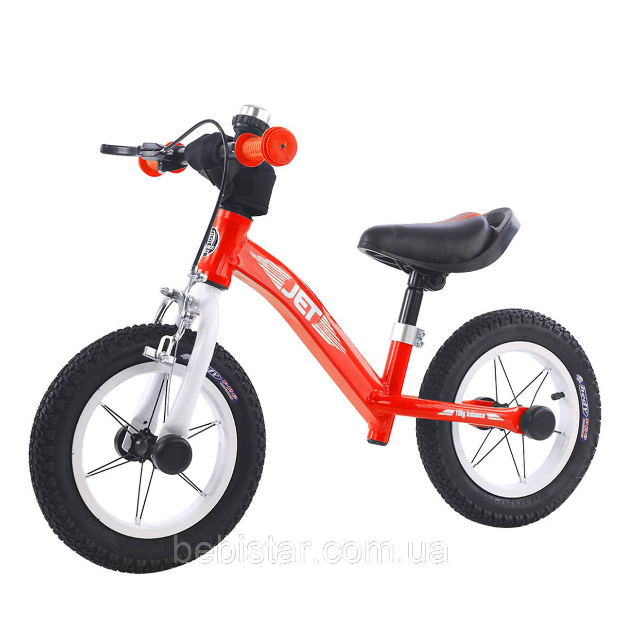Беговел велобег алюминиевый красный Tilli Jet надувные колеса ручной тормоз звонок для детей от 2-х до 5 лет