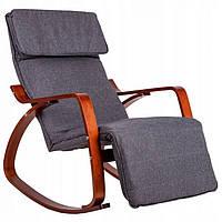 Крісло качалка з підставкою для ніг Goodhome TXRC02 Walnut, фото 1
