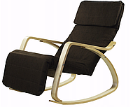 Кресло качалка с подставкой для ног Goodhome Brown, фото 1