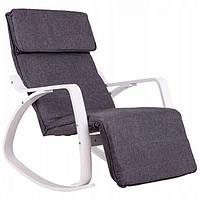 Кресло качалка с подставкой для ног Goodhome TXRC02 White (крісло гойдалка з підставкою для ніг)