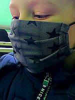 Тканевая хлопковая многоразовая маска для лица со звездочками детская для девочки, маски трехслойные от вируса