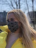 Тканевая хлопковая многоразовая маска для лица со звездочками для девочки, маски трехслойные от вируса