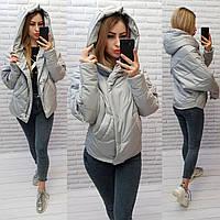 Куртка женская оверсайз, арт.186 + батал, цвет -светло серый