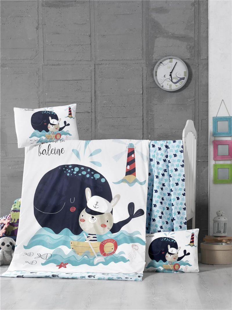 Детский комплект постельного белья Премиум ранфорс Fisher 100x150 см. (44193)
