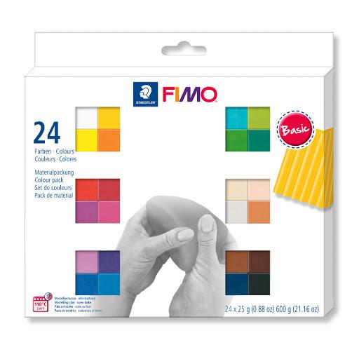 Фимо полимерная глина набор для лепки Фимо Fimo Basic 24шт. по 25г (Германия)