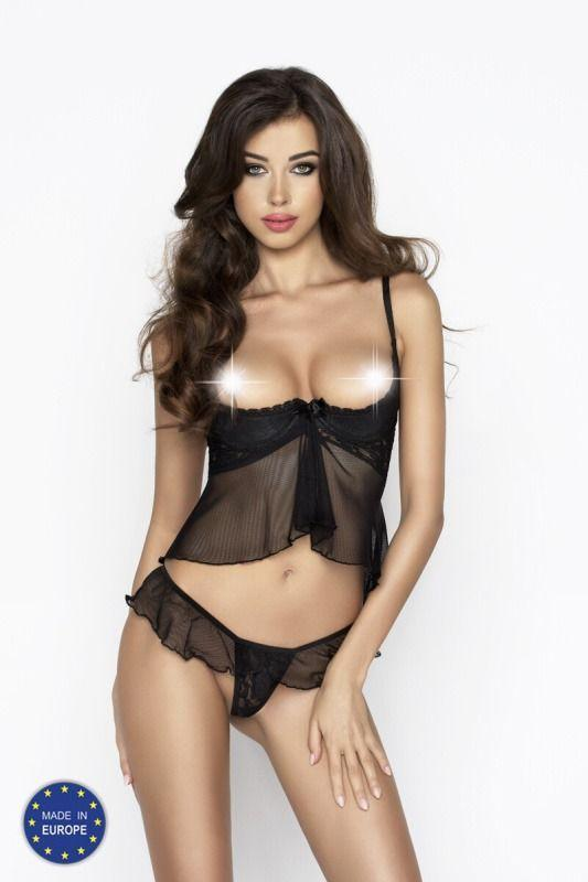IMAGINE SET WITH OPEN BRA black S/M - Passion
