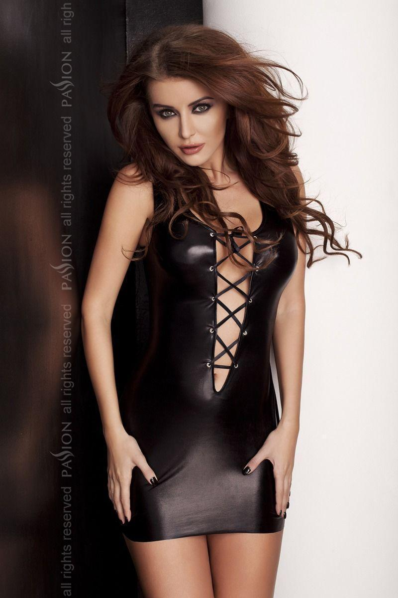Платье под латекс с глубоким декольте LIZZY DRESS black L/XL - Passion Exclusive со шнуровкой 18+