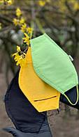 Удобная защитная многоразовая хлопковая маска для лица, повязка на лицо против вирусов. жёлтый