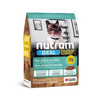 Сухой корм для кошек с чувствительным пищеварением и проблемами кожи и шерсти I19 NUTRAM 1,13 кг