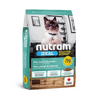 Сухой корм для кошек с чувствительным пищеварением и проблемами кожи и шерсти I19 NUTRAM 5,4 кг