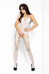 Бодистокинг Passion BS006 white, комбинезон, имитация чулок и пояса 18+