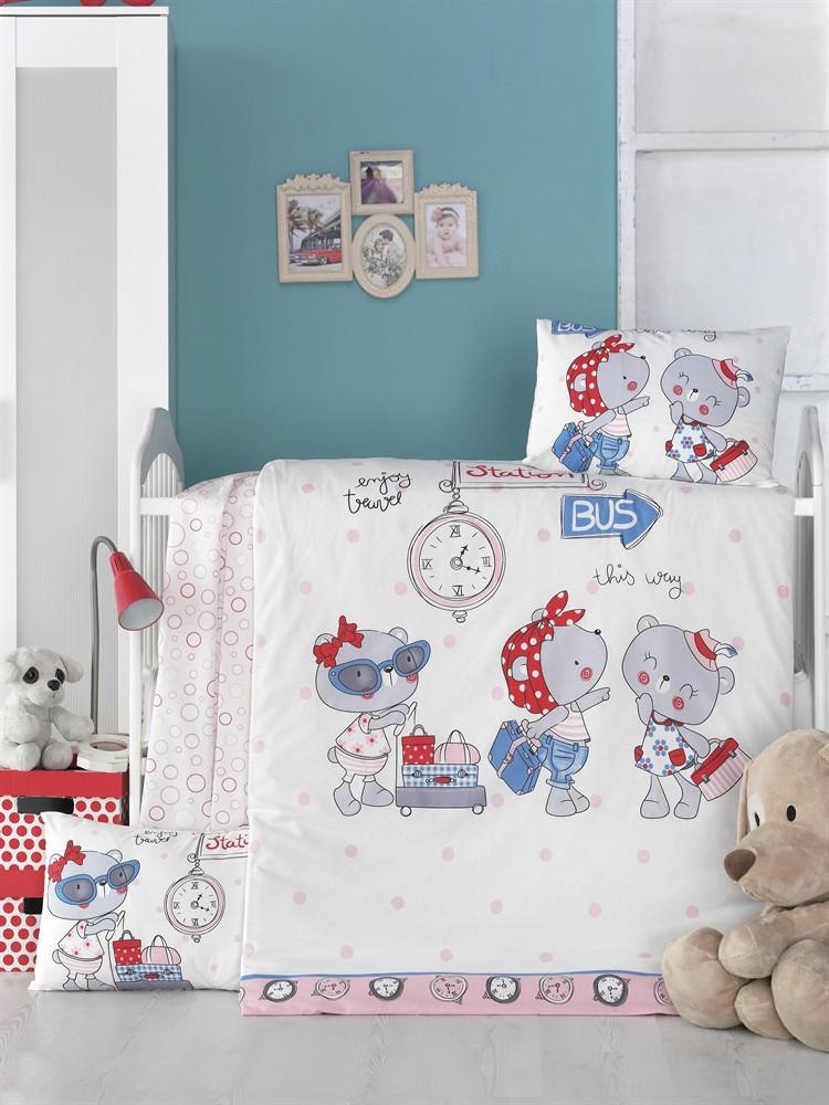 Детский комплект постельного белья LightHouse Bebek Pink Station 100x150 см. (35189)