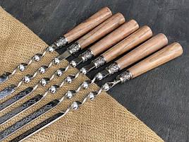 """Набір шампурів ручної роботи з дерев'яними ручками """"Версаль"""" в шкіряному сагайдаку"""