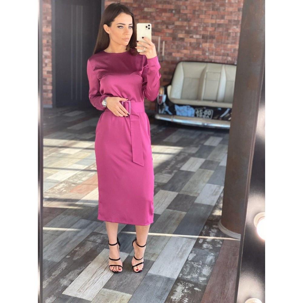 Платье с поясом шелковое