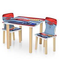 Детский столик Тачки деревянный с двумя стульчиками 506-52
