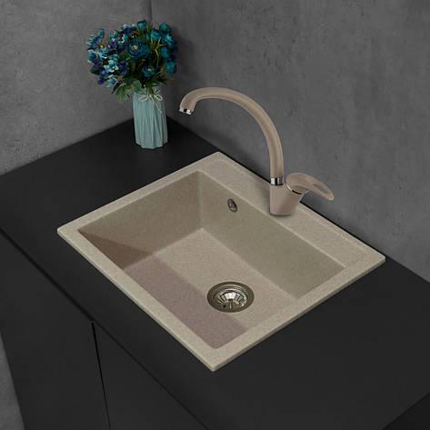 Кухонная мойка из литого камня Fancy Marble Oregon 590х500х210 мм, фото 2