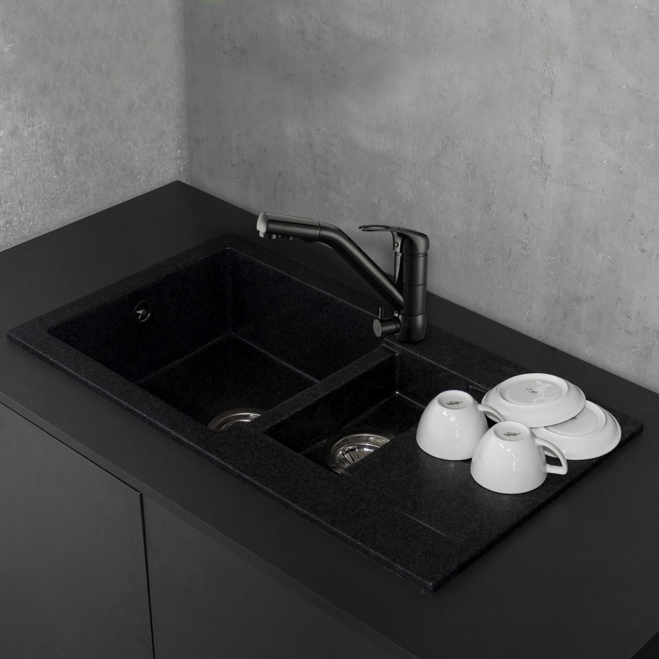 Кухонная мойка из литого камня Fancy Marble Alabama 780x435x160 мм