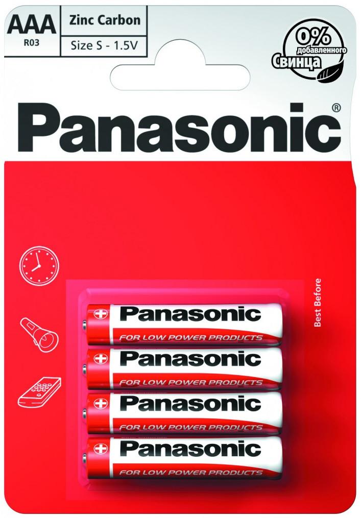 Батарейка Panasonic RED ZINK R03 BLI 4 ZINK-CARBON